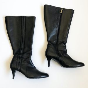 Duo Brand Knee High Black Leather Heeled Boots